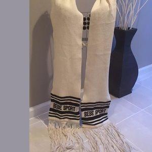 Bebe sport long fringe scarf ivory & black